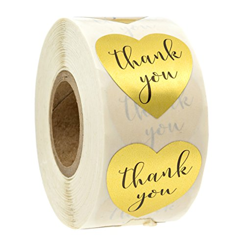 Favor Box Stickers (Gold Heart Shape Foil Sticker Labels - 500 Stickers, 1 1/8