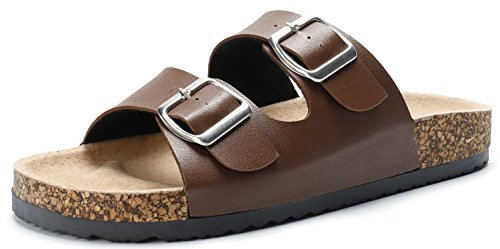 (SANDALUP Unisex Adjustable Double Buckle Flat Sandals with Brown 41)