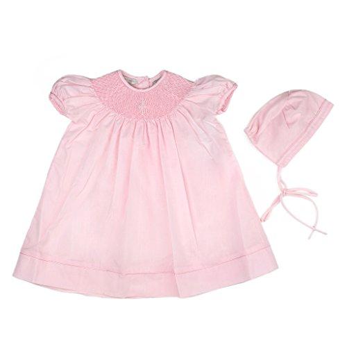Hand Smocked Bishop Dress (Carriage Boutique Baby Girl Hand Smocked Christening/Baptism Pearl Cross Bishop Dress with Bonnet - Pink, 6M)