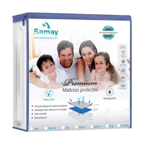 Samay Tamaño de Cama Bug Cubrecolchón Impermeable con Cierre colchón Encasement, Individual