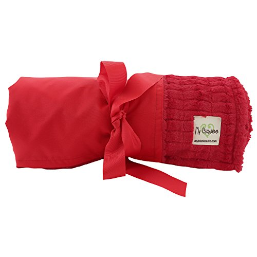 My Blankee Extra Large Picnic & Outdoor Blanket Warm and Soft Luxe Stipe with Waterproof Backing, Red, 59'' X 85'' by My Blankee