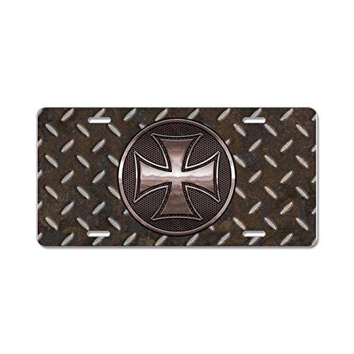 CafePress - grid-iron-malt-smT Aluminum License Plate - Aluminum License Plate, Front License Plate, Vanity Tag (Iron Cross Back Bumper compare prices)