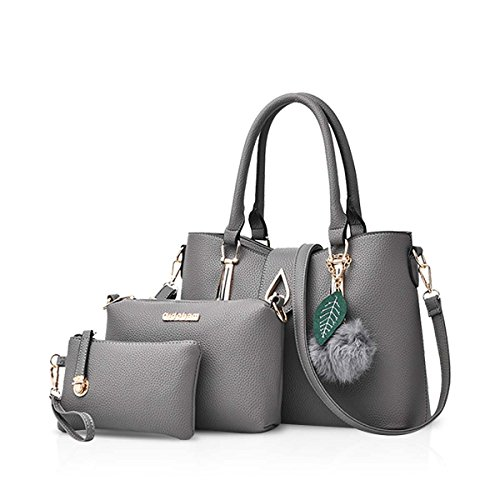 Shoulder Soft Messenger Women Fashion Leather PCS Crossbody Bag Handbag Totes amp;DORIS 3 NICOLE Gray PU Bag pqwAY5