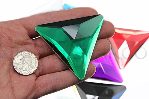 68mm Green Emerald H106 Flat Back Triangle Acrylic Gems High Quality Pro Grade Individually Wrapped - 2 Pieces
