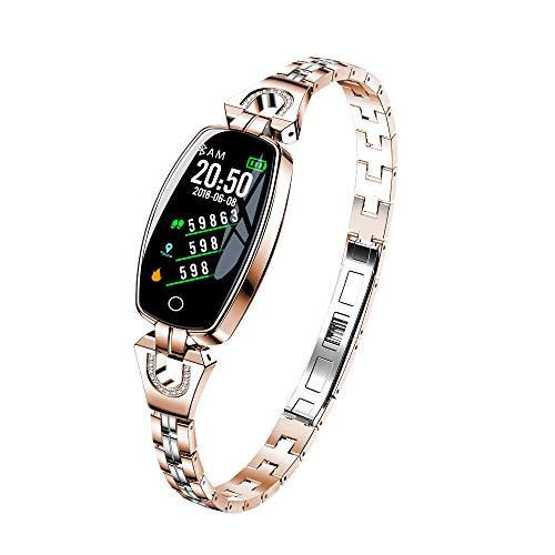 WTGJZN H8 Smart Bracelet Women Wristband Blood Pressure Heart Rate Monitor Fitness Tracker IP67 Waterproof Smart Band Female Smartwatch,Gold