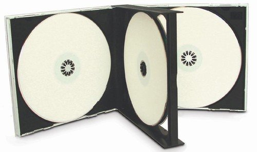 mediaxpo Brand 10 Black Quad 4 Disc CD Jewel Case - Jewel Clear Case Tray