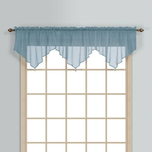 United Curtain Monte Carlo Sheer Ascot Valance, 40 by 22-Inch, Slate Blue by United Curtain