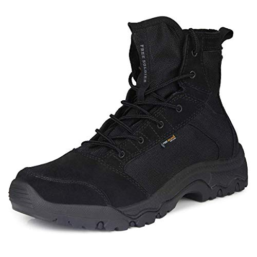 FREE SOLDIER Men's Work Boots 6 inch Lightweight Breathable Military Tactical Desert Boots for Hiking(Black 10 US) (Best Hiking Boots Review)