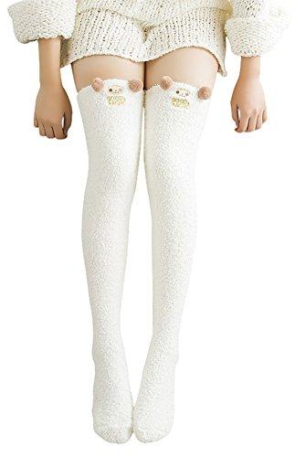 Urban CoCo Women's Cartoon Fuzzy Socks Winter Warm Over Knee High Socks (White) ()