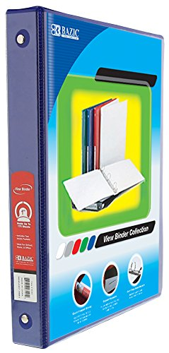 BAZIC 1'' Blue 3-Ring View Binder w/ 2-Pockets for School, Home, or Office (Case of 12)