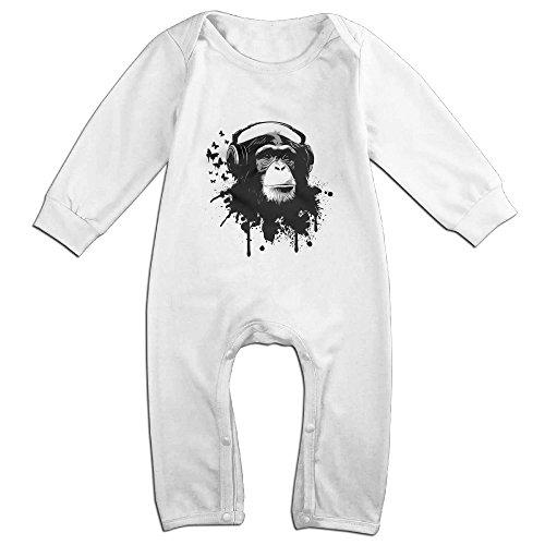 [Raymond Monkey Business Long Sleeve Jumpsuit Outfits White 12 Months] (Make Monkey Magic Costume)
