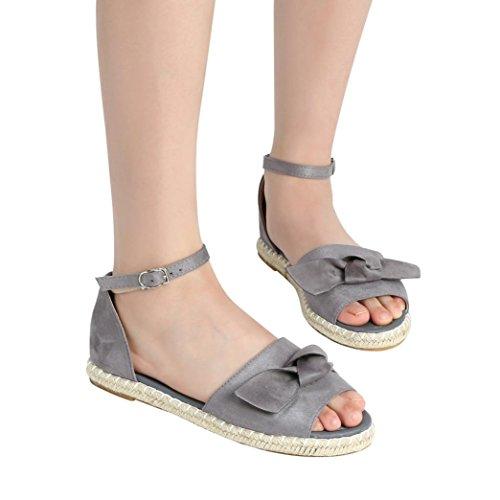 Aldaba Color Estar Moda WINWINTOM Mujer Sandalias Mujeres Toe Plano Zapatillas Gris por Talón Casa y Chancletas de Moda Casual Peep Chanclas Arco Rebaño Sandalias Sólido r86qF18