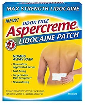 Aspercreme Max Strength Pain Relieving Lidocaine Patch , 3.94 x 5.5 -Inch (5 Count) - Pack of 6 by Aspercreme