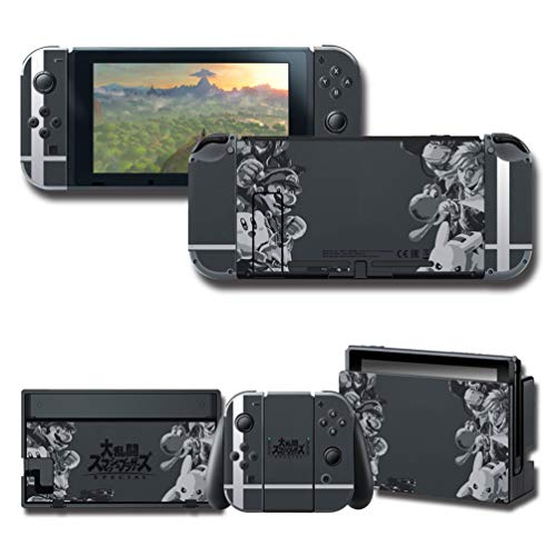 Full Set Decal for Nintendo Switch, Black Protector Wrap Skin Protective Faceplate Stickers Console Joy-Con - Console Faceplate
