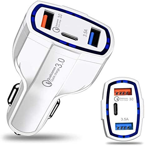 Murakush シガーソケット USB充電器 3ポート タイプC 車載 USB 携帯電話 3.0急速充電 35W 内蔵 カーチャージャー クイックチャージ ホワイト