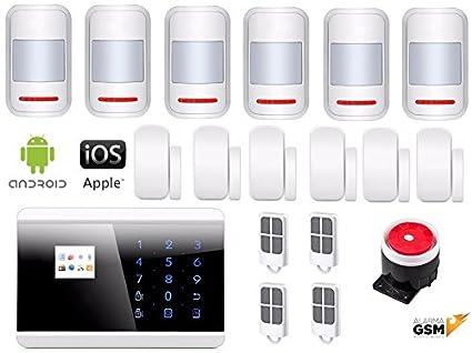 Kit alarma inalámbrica GSM y PSTN para hogar, casa, negocio o tienda App IOS Android gratuita / Sin cuotas mensuales / Pilas incluidas / Menú, voz y ...