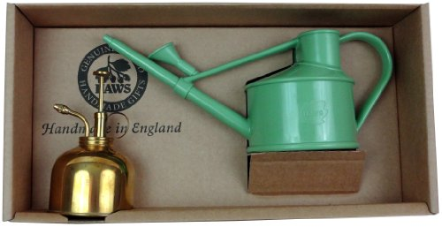 Haws Spray-n-Sprinkle Gift Box with Sage Green Watering Can and Brass Mister ()