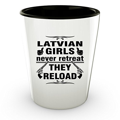 LATVIA LATVIAN Shot Glass - Good Gifts for Girls - Unique Coffee Cup - Never Retreat They Reload - Decor Decal Souvenirs Memorabilia - Latvian Folk Costumes