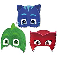6 Adet Pijamaskeliler Karton Maske, Pj Masks Doğum Günü Maskesi