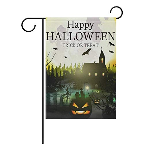lightly Sweet Home Garden Flag Vertical Double Sided Spring Summer Vintage Happy Halloween Full Moon Castle Boo Outdoor Yard Flags Decorative 28x40 Inch ()