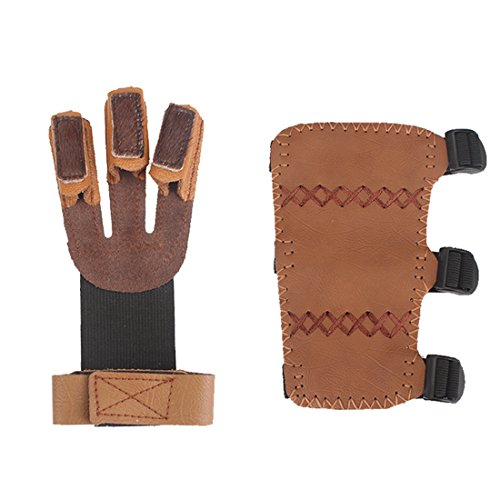Krayney Adult Youth Leather 3-Strap Arm Guard & Gloves Protector, Hunting Shooting Arrow Bow Gear Accessories, Archery Arm Finger Protector (Brown-Youth Size)