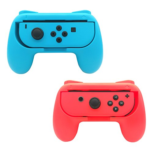 FastSnail Grips compatible with Nintendo Switch Joy Cons, Wear-resistant Handle, 2 Pack (Red and Blue) (Switch Resistant)