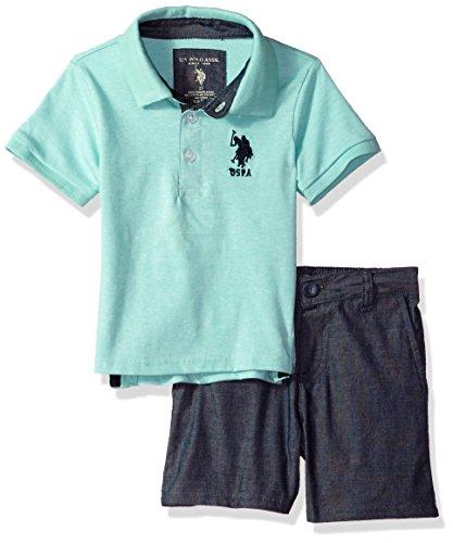 U.S. Polo Assn.. Toddler Boys' Polo Shirt and Short Set, Navy Logo Jade, 4T by U.S. Polo Assn.