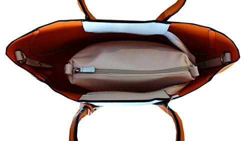 sac cabas shopper sac de plage 2 en 1 pour femme couleur beige et orange