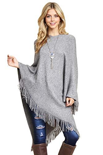 Classic Soft Knit Poncho Shawl Wrap - Basic Warm Pullover Fringe Tassel Sweater Chunky Crochet, Plain (Plain - ()