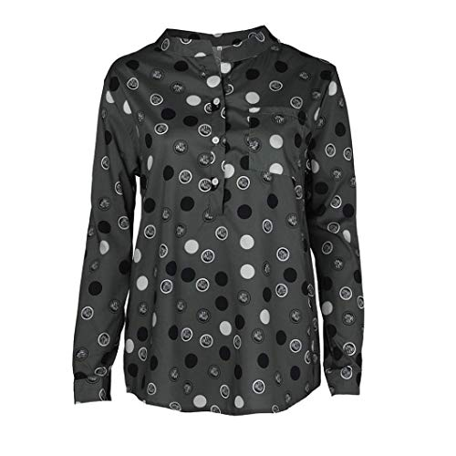 Blouse Women Stand Collar Wave Point Printing Long Sleeves Plus Size Tops Loose Blouse ❤️ ZYEE -