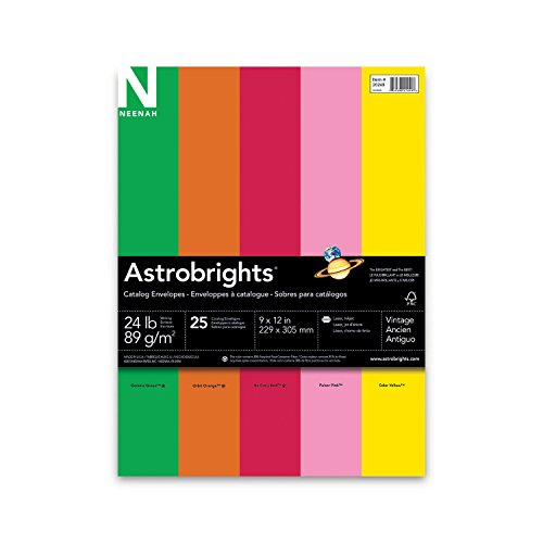 Neenah Astrobrights Envelope Assortment, Assortment 1, 25 Count, 9 X 12 Inches (20249)