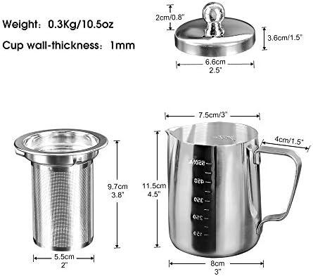Chihee Jarra para espumar con leche, acero inoxidable 20 oz (600 ml) Jarra para leche con tapa y filtro para máquinas de café espresso, leche para leche, Latte Art, hacer té: Amazon.es: