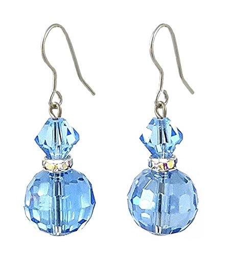 Round Glass Drop Earrings - Light Blue (E578)