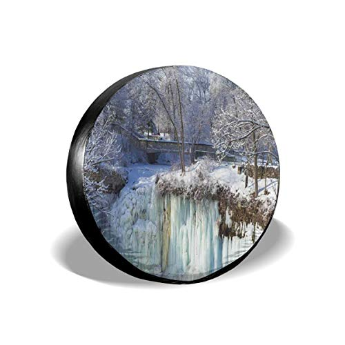GULTMEE Tire Cover Tire Cover Wheel Covers,Frozen Minnehaha Falls and Footbridge in City Park of Minneapolis Landmark Theme,for SUV Truck Camper Travel Trailer Accessories(14,15,16,17 Inch) 16