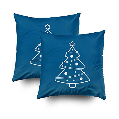 Musesh Pack of 2 Christmas Christmas Tree Line Icon On Blue Cushions Case Throw Pillow Cover for Sofa Home Decorative Pillowslip Gift Ideas Household Pillowcase Zippered Pillow Covers 16x16Inch - Treeline Pack