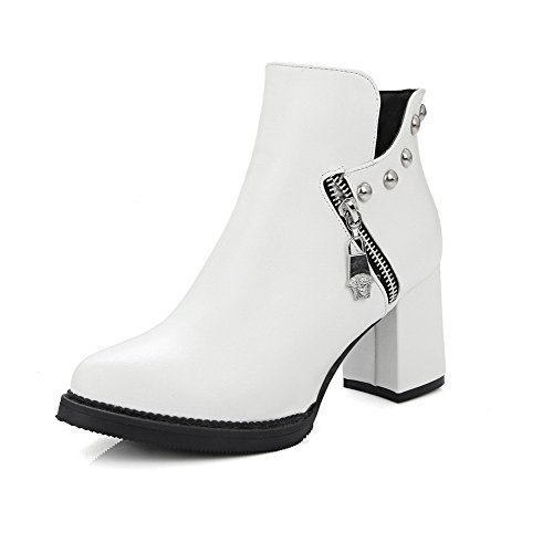 AllhqFashion Women's High-Heels Pointed Closed Toe Pu Low-Top Solid Zipper Boots, White-Metal Nail, 41