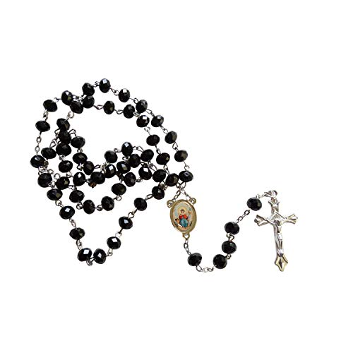 (Gifts by Lulee, LLC Holy Infant of Atocha Santo Nino de Atocha Black Quartz Cristal Faceted Rondelle 8mm Beads Rosary with Silver Plated Crucifix and Medal Centerpiece Includes a Blessed Prayer Card )