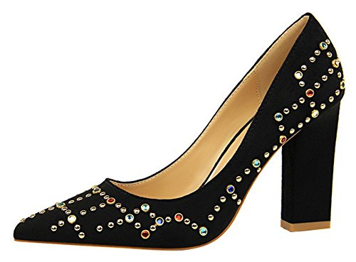 Aisun Womens Unique Studded Rhinestone Low Cut Dressy Pointed Toe Chunky High Heel Slip On Pumps Shoes Black 3LnO7