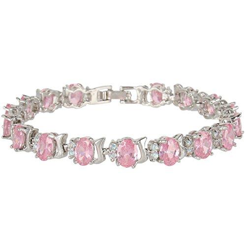 EVER FAITH Silver-Tone Full Zircon Oval Roman Tennis Bracelet Light Pink (Roman Head Wear)