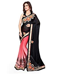 Mirchi Fashion Women's Patch Party Traditional Indian Saree Black,Peach