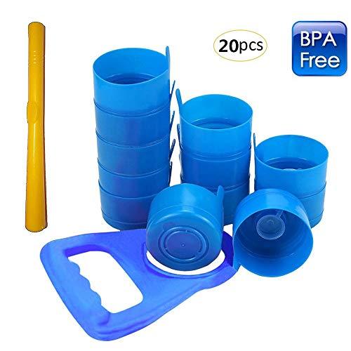 HTTX 3 and 5 Gallon Kettle and Water Bottle Handle 20 Pieces + 1 Kettle Handle (Random Color) +1 Crowbar Non-Overflow Cover Splash Bottle Cap Reusable 55 -