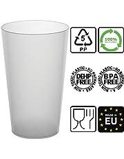 100 Gobelets Réutilisables - en Plastique Polypropylène Rigide 30cl (Givré)