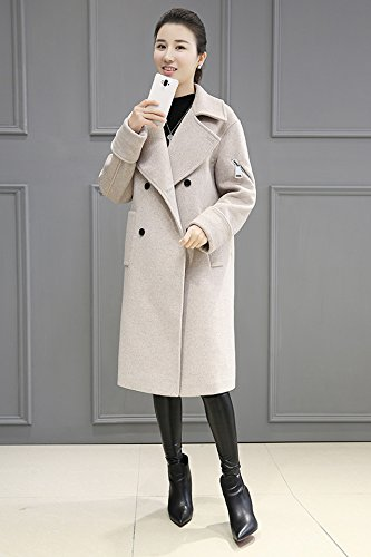Generic Cocoon woolen fall and winter clothes 2018 new Slim woolen coat Girls long paragraph Korean version was thin wool coat for women girl
