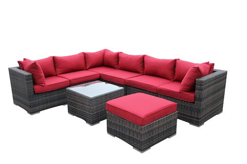 Modular Corner Sofas (8 Piece Corner Modular Sectional Patio Sofa Set RED)