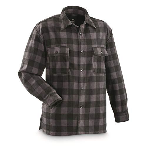 (Guide Gear Men's Fleece CPO Shirt, Black Plaid, XL)