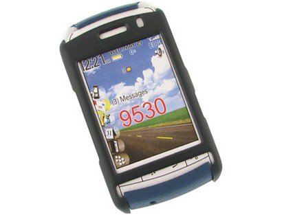 Snap On Rubberized Plastic Phone Protector Black and Blue Case For BlackBerry Storm 9530 9500 -