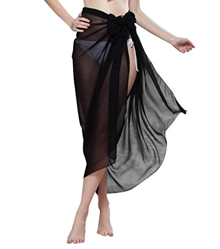 Women's Summer Black Pareo Sarong Wrap Swimsuit Cover-up