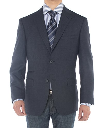 Luciano Natazzi Mens Two Button 160'S Wool Blazer Ticket Pocket Suit Jacket (54 Regular US / 64 Regular EU, French Blue) (Suit Wool Single Breasted Worsted)