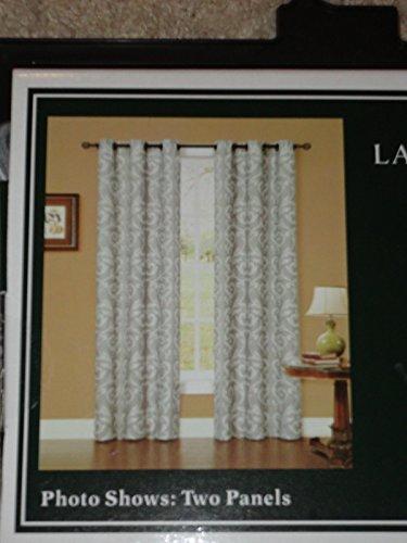Laura Ashley WINDMERE CHARCOAL Damask Window Panels Drapes Set 2 NEW 40 x 84