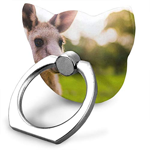 Unique Customized Finger Ring Stand Funny Kangaroo 360°Rotation Cell Phone Ring Stand Holder Grip Universal Smartphone Ring (Reusable Universal Protector Screen)